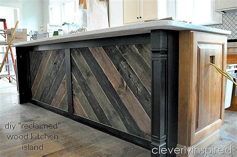 salvaged wood kitchen island diy reclaimed wood on kitchen island cleverly inspired