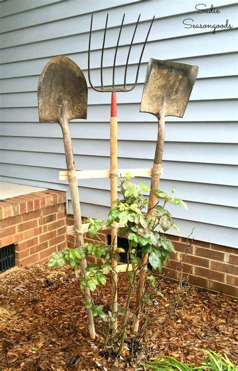 Building Garden Trellis With Farm Tools For Art