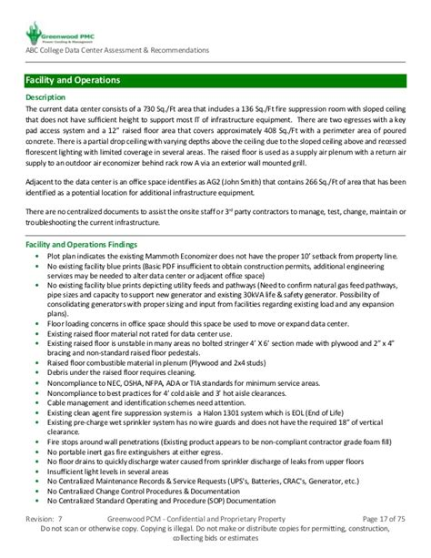 sample abc college data center assessment recommendations