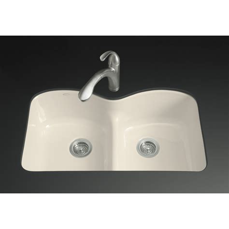 kohler undermount cast iron sink shop kohler langlade 22 in x 33 in almond double basin