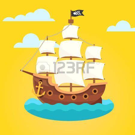 Barco Pirata Negro by Pirata Caricatura Barco Pirata Con Velas Blancas Y Scull