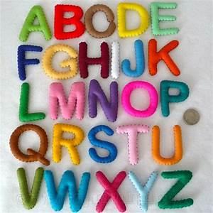 stuffed felt alphabet letter set in a reusable drawstring With 6 inch felt letters