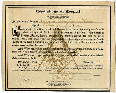 freemason resolution  respect  benjamin franklin