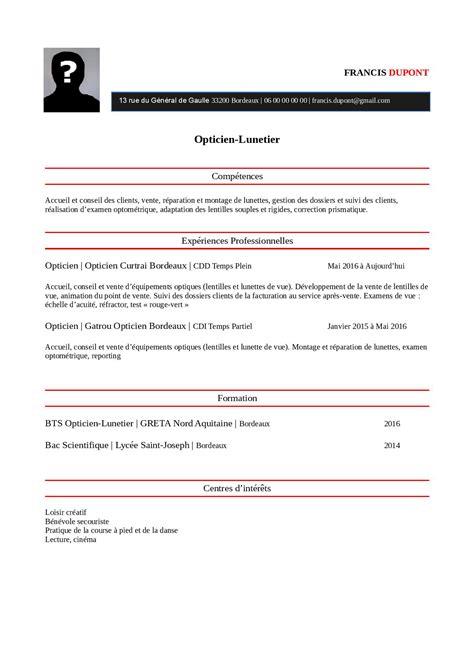 Exemple De Modele De Cv by Mod 232 Le Exemple De Cv Opticien Lunetier Staffsant 201