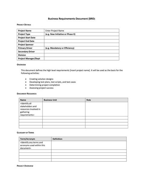 40+ Simple Business Requirements Document Templates - Template Lab