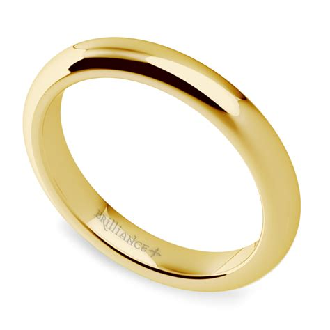 comfort fit wedding ring in yellow gold 3mm