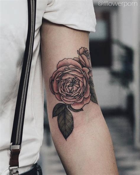 illustrative pink rose tattoo   left bicep