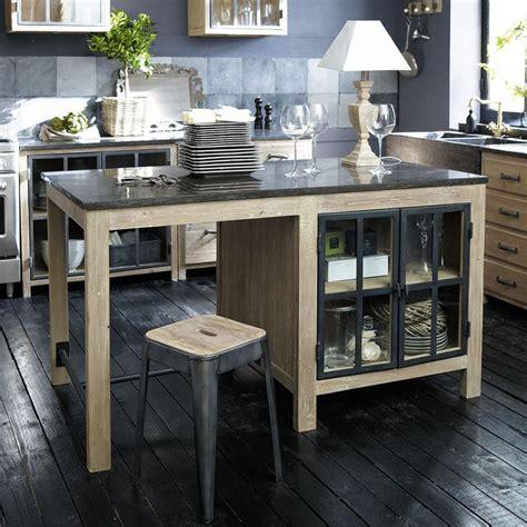 cuisine maison du monde copenhague îlot central en bois recyclé l 150 cm copenhague maisons