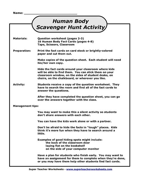 human scavenger hunt worksheet 9 best images of bill nye bones and muscles worksheet