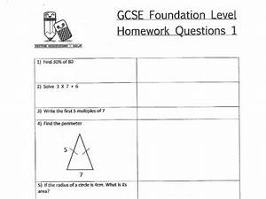 Gcse Maths Foundation Level Homework Worksheets By Claire1580