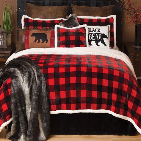 rustic ceiling fans buffalo plaid plush bed set king