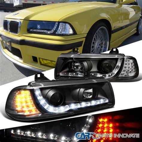 bmw 92 98 e36 325i 323i 2dr projector headlights black w led signal ls ebay