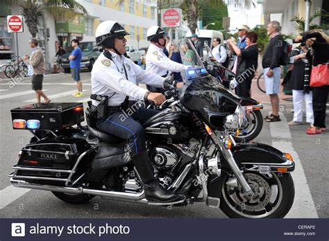 motorcycle police officers miami florida usa stock