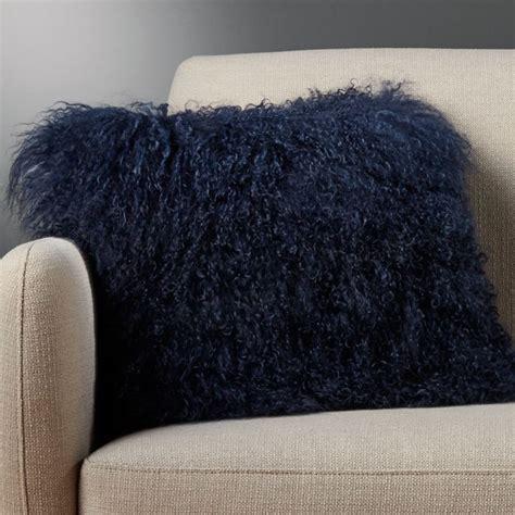 mongolian sheepskin blue fuzzy pillow cb