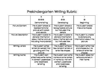 pre kindergarten pre  writing rubric prekindergarten