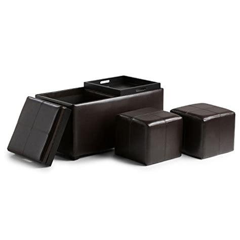 small rectangular storage ottoman simpli home avalon 3 piece rectangular storage ottoman w