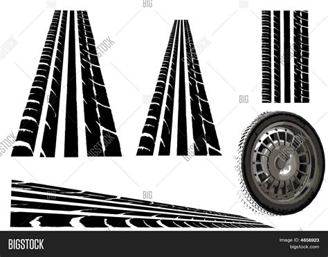 Car Wheel Tyre Tracks Vector & Photo