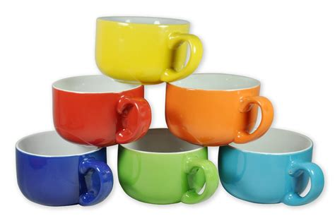 6 Large Sized 14 Ounce Colored Ceramic Coffee & Soup Mugs Only $15.80 (Reg. $49.99!)