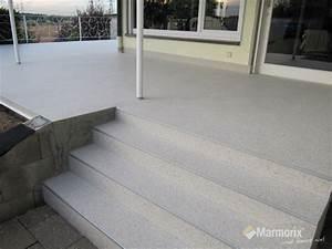 Betonfarbe Außen Terrasse : marmorix steinteppich verlegebeispiele treppen ~ Michelbontemps.com Haus und Dekorationen