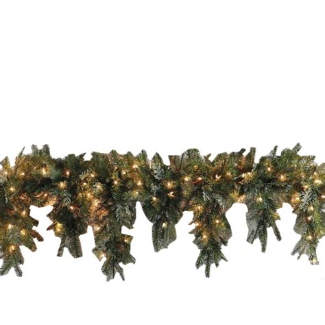 mantle garland with lights 6 39 battery operated cascading holiday mantle garland led