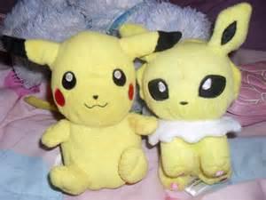 pikachu and jolteon dolls