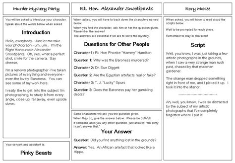 Free Printable Murder Mystery Scripts  Video Search