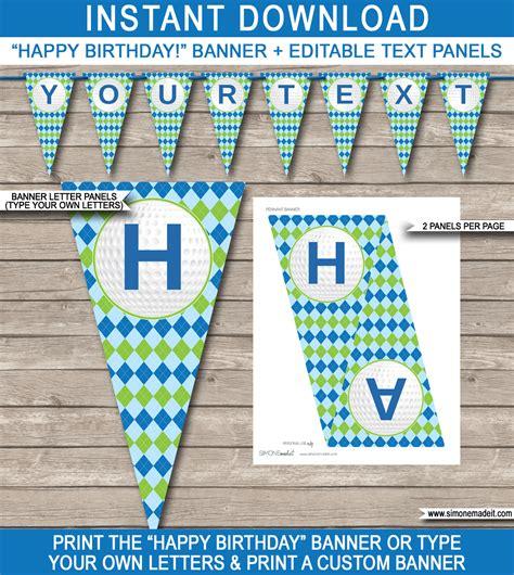 Birthday Banner Template by Golf Banner Template Happy Birthday Banner