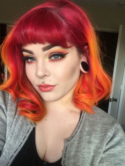 Short Red To Orange Ombre Hair Hair In 2019 Sunset