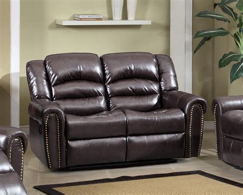 Leather Loveseat With Nailhead Trim by 684 Brown Leather Reclining Loveseat With Nailhead Trim