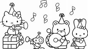 Hello Kitty Birthday Coloring Pages Getcoloringpagescom