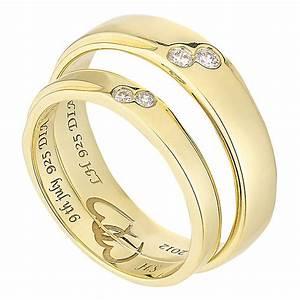 commitment 9ct yellow gold diamond set wedding ring set With 9ct gold wedding ring sets