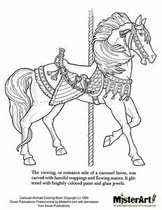 free coloring pages of carousel animals With merry go round horse template