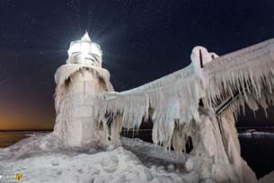St. Joseph Lighthouse Covered in Ice