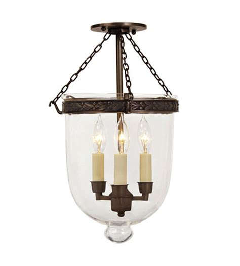 jvi designs bell jar 3 light semi flush mount in