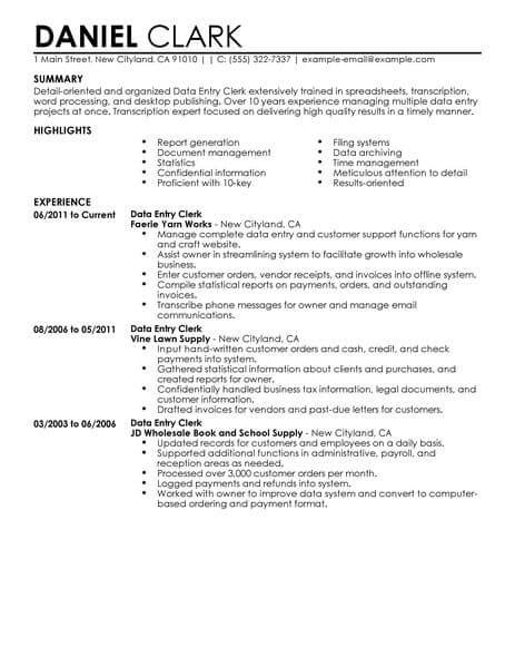 Clerical Position Resume by Best Data Entry Clerk Resume Exle Livecareer