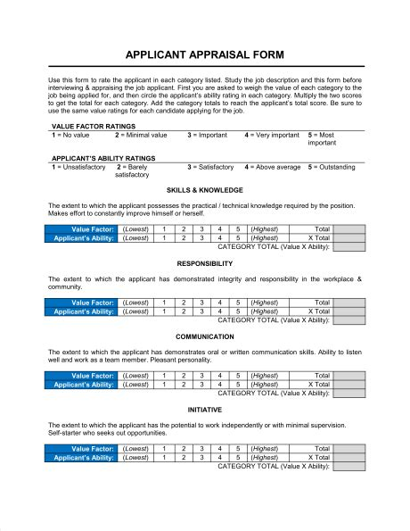 filling the appraisal form applicant appraisal form evaluation template sle