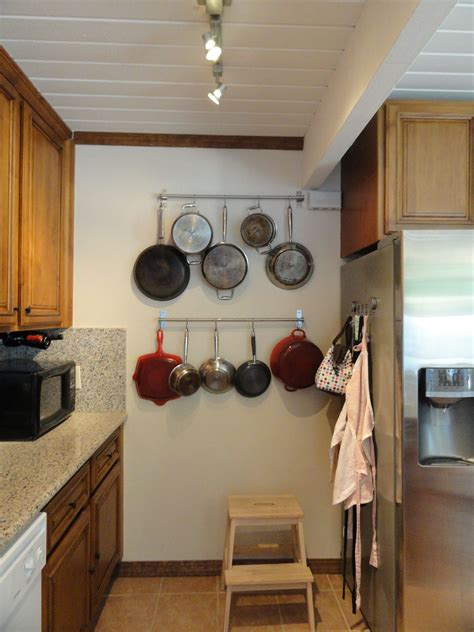 pot rack kitchen mini hanging ceiling mounted low ikea pots cabinets discover pantry