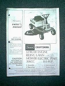 Sears Craftsman Rear Engine Riding Mower 8 Hp 32 U0026quot  Model