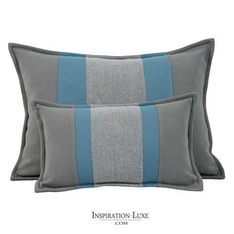 coussin de luxe pour canapé coussin rectangulaire de luxe é bleu et gris 2