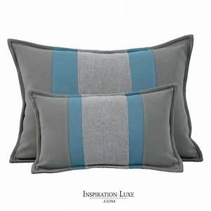 Gris Et Bleu : coussin rectangulaire de luxe ray bleu et gris 2 tailles au choix ~ Dode.kayakingforconservation.com Idées de Décoration