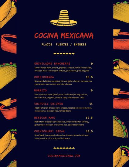customize  mexican menu templates  canva