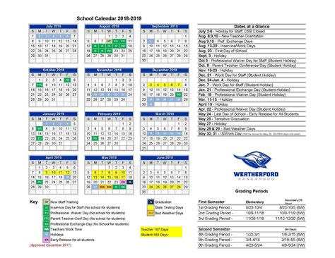 home calendars weatherford independent school district