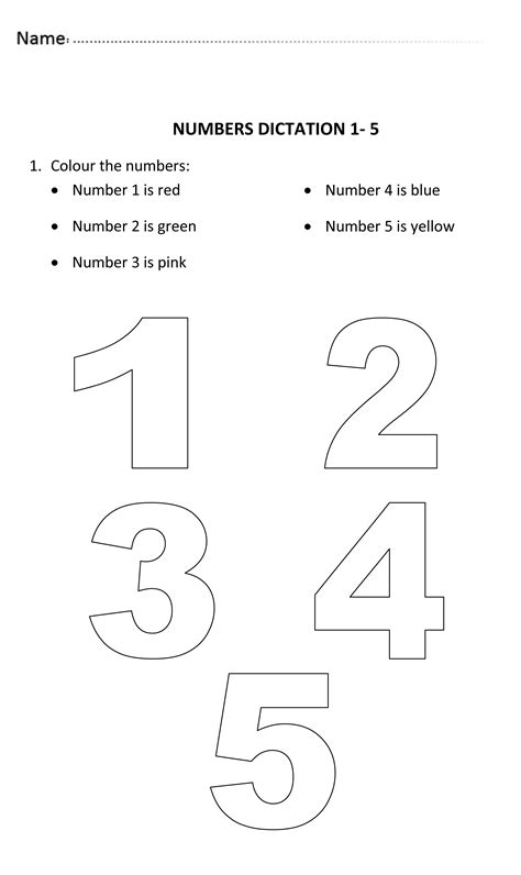 numbers dictation for 3 and 4 years old numberworksheet