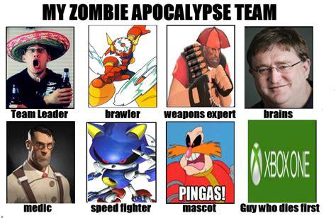 Zombie Apocalypse Team Meme - zombie apocalypse team anime memes