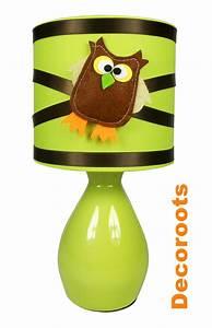 Lampe De Chevet Garçon : lampe de chevet hibou vert anis et marron chocolat ~ Teatrodelosmanantiales.com Idées de Décoration