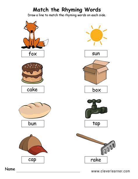 rhyme words matching worksheets for kindergarten and 389 | matching rhyme words activity worksheet 5b