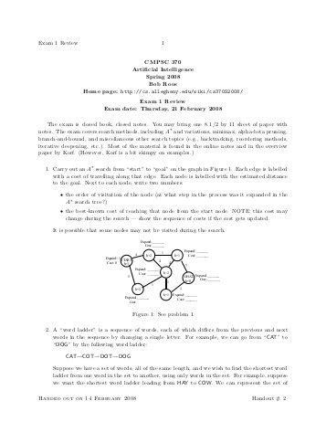 CSC 480 ARTIFICIAL INTELLIGENCE MIDTERM EXAM