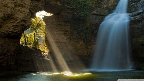 Limestone Cave And Waterfall, The Foradada, Catalonia ...