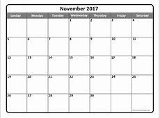 November 2017 calendar template November 2017 printable