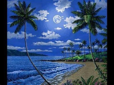 kaedah lukisan pantai  waktu malam  bulan akrilik